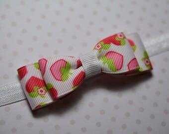 Strawberry Print Bow Headband/ Strawberry Baby Headband/Baby Hair Accessories/Baby Girls Hair Accessories/ Strawberries/ Newborn Headband