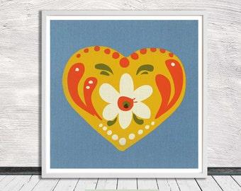 Folk Art Heart (blue), Pennsylvania Dutch, Nursery Art, Flower Illustration, Wall Art, Printable Art, Instant Digital Download