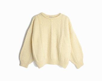 Vintage Cable Knit Wool Fisherman Sweater in Ivory Cream / Irish Fisherman Sweater - women's large