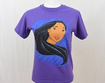 Vintage Pocahontas T Shirt, Size XXS-XS, Youth Large, Disney, Purple, 90's Clothing, Rad, Tumblr Clothing, Teen