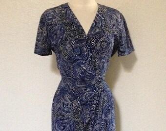 Vintage Silk Wrap Dress Dark Blue Paisley