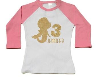 Under The Sea Mermaid Birthday Party -3rd Birthday Shirt - Personalized Birthday Tee - Use Any Number - Gold Glitter Mermaid Shirt - Mermaid