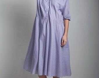 SALE plus size 80s vintage shirt dress purple white cotton chevron stripe XL 1X extra large