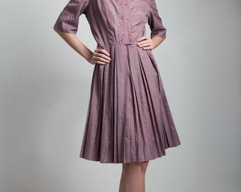 vintage 50s cotton pleated shirt dress purple checked plaid MEDIUM LARGE M L