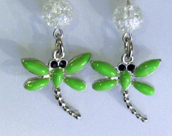 Green Dragon Fly Earrings
