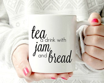 Tea, a drink with bread and jam.The sound of music mug. 11 oz  Ceramic MUG. teacup mug.coffee mug, 50th anniversary,  parent gift mother