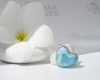 Larimarandsilver ring size 7, Love Element - water blue Larimar heart, topaz blue, love stone, sky blue, aqua heart, handmade Larimar ring
