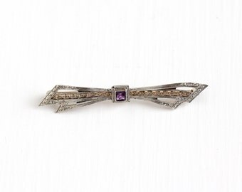 Sale - Antique Art Deco 10K White Yellow Gold Simulated Amethyst Pin - Vintage 1930s Art Deco Filigree Purple Glass Stone Bow Brooch Jewelry