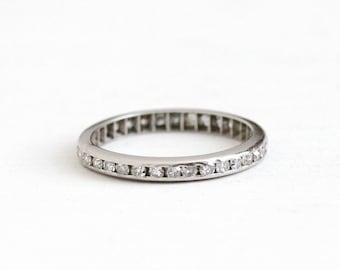 Antique Platinum Diamond Eternity Wedding Band Ring - .51 CTW Size 6 Vintage Art Deco Fine Bridal Engagement Channel Set Stacking Jewelry