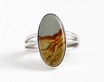 Vintage Sterling Silver Picture Jasper Ring - Size 6 1/4 Stick Pin Conversion Oval Blue Brown Beige Gem Statement Southwestern Style Jewelry