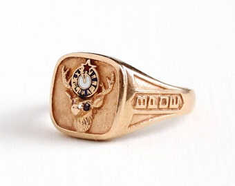 Sale - Vintage 10k Rose Gold BPOE Fraternity Ring - Retro 1960s Size 11 1/2 Men's Benevolent Protective Order of Elks Ruby Fine Jewelry
