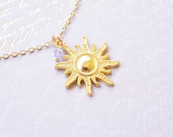 Necklace, Gold Necklace, Sun Necklace, Crystal Necklace, Rapunzel Necklace, Tangled, Swarovski Crystal, Lavender Crystal, Gold Sun Pendant