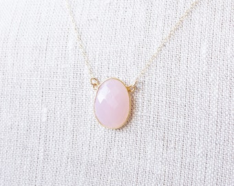 Necklace, Gold Necklace, Chalcedony Necklace, Pink Necklace, Gemstone Necklace, Rose Quartz Necklace, Handmade Necklace, Bridesmaid Necklace