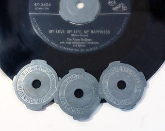 Four Metal Record Inserts for 45 RPMs