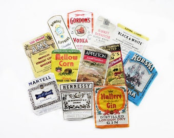 12 Assorted Liquor Labels