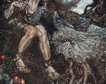 Bottom, Sleep Thou,  Arthur Rackham, Vinatge Art Print