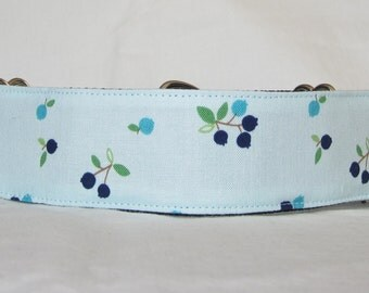 SALE Blueberry Martingale Dog Collar - 1.5 Inch - blue navy fruit food sweet fun berry