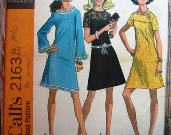 Vintage 1960s Womens Half-size Dress in Three Versions Size 18-1/2 McCalls Pattern 2163 Cut/Complete