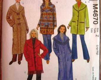 Misses Unlined Loose-fitting Jackets and Coats Sizes L XL McCalls Pattern M4670 UNCUT