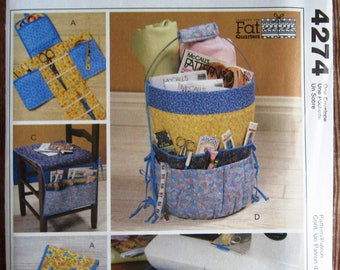 Sewing Organizers and Accessories Fat Quarters McCalls Crafts Pattern 4274 UNCUT