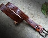 Leather Belt, Floral Belt, Gardeners Belt, Nature Lover