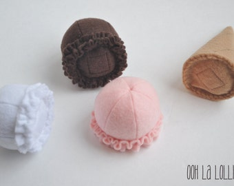 Felt Neopolitan Ice Cream Set, magnetic, comes with one cone and three scoops in white, brown, and pink