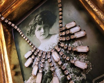 Beautiful late 40s Early 50s Art Deco Necklace White Moon Stones and rhinestones hook closure