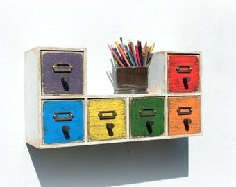 Wall shelf, Wood Drawer Shelf, Wall Wooden shelf, Wood Drawers, Distressed Drawers Shelf Colorful, Jewlery box, Kids Storage, Kitchen shelf