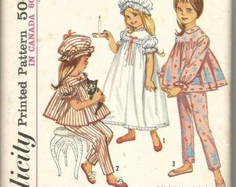 1960s Toddler Girl Nightgown Pajamas Nightcap Simplicity 5080 Girl Size 2 Breast 21 Girls Vintage Sewing Pattern
