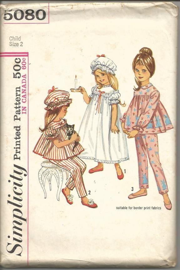 década de 1960 niño niña camisón pijama Copa simplicidad 5080 tamaño ...