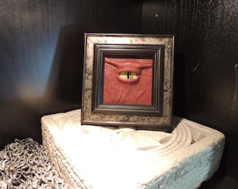 The Watcher: Mini framed Yellow Dragon eye withRust  Leather