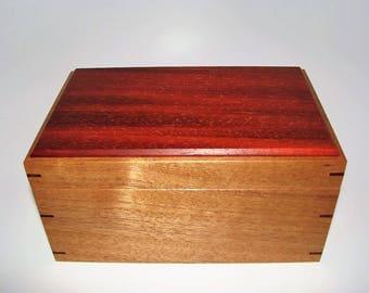"""Memory Box. Exotic Mahogany and African Padauk Keepsake Box. 8.5"""" x 5.5"""" x 4.5"""". Handcrafted Wooden Memory Box."""
