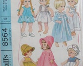 "Vintage Toddler Doll Clothes Pattern for Large 17"" - 20""  Inch Dolls - McCall's 8564 - Play Dress, Party Dress, Coat, Hat, Nightgown"