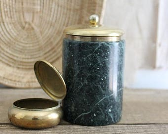 Vintage Green Marble And Brass Lidded Jar, Marble Canister