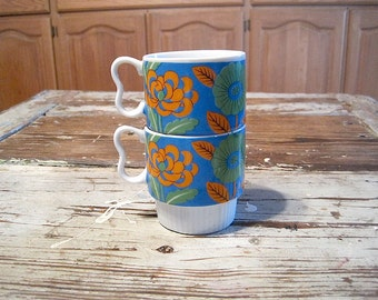 Two Blue/Green/Orange Japan Floral Stacking Mugs