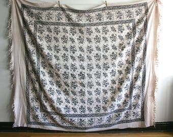 Block Print Handwoven Indian Textile Coverlet