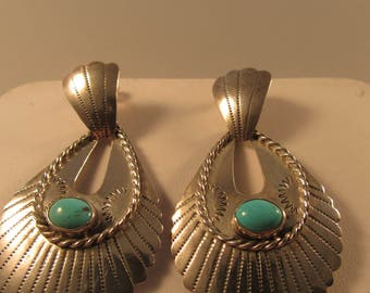 Vintage Handmade by Gilo and Grace Nakai Sterling with Turquoise Dangle Earrings