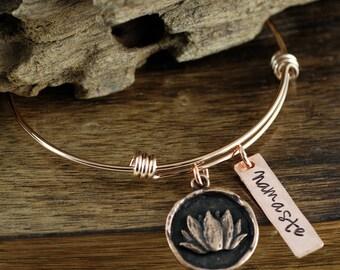 Namaste Bracelet, Custom Yoga Bracelet, Yoga Jewelry, Gift for Yoga Lover, Lotus Bracelet, Personalized Bangle Bracelet, Womens Bracelet