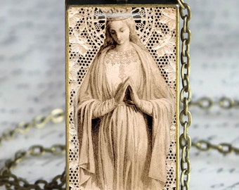 Blessed Mother Glass Tile Pendant Necklace Christian Virgin Mary   Holy Card Art Pendant Jewelry
