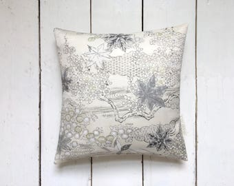 Decorative Ivory and Grey Vintage Kimono Silk Fabric Floral Cushion Pillow 'Silver Maple'