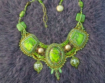 Spring green jasper bead embroidered necklace