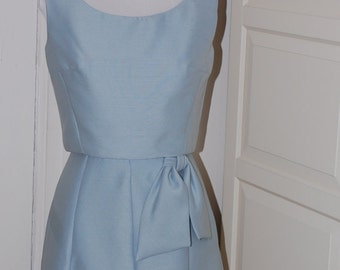50s Blue Gray Cocktail Dress, Shannon Rogers for Jerry Silverman, 2 Piece Dress, Bow, Size XS