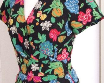 80s Ungaro Novelty Print Dress,  Fruits, Silk Crepe, Faux Wrap, Paris, S/M