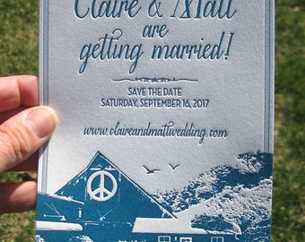 YOUR WEDDING LOCATION Custom Designed on this letterpress Save the Date!