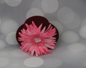 Mini Top Hat; Fascinator; Burgundy Rust Mini Hat; Pink Flower and Pink Trim; Hair Accessory; Hair Clip; Style 204