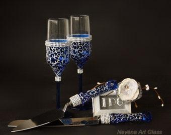 Wedding Set, Blue Wedding Glasses, Cake Server set, Hand Painted, Set of 4 pieces