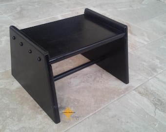 Large Handmade wood step stool painted black
