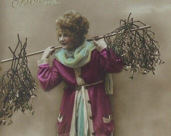 French Vintage New Year Postcard - Woman Carrying Mistletoe