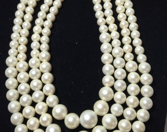 Faux Pearl Necklace // Vintage // Four Strand // Choker
