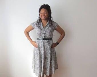 Vintage '40s/'50s Black & White Gorgeous Patterned Cotton Shirtwaist Dress, 38 Inch Bust